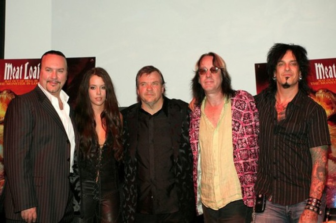 NEW YORK - JULY 31: (L-R) Producer Desmond Child, Musicians Marion Raven, Meat Loaf, Producer Todd Rundgren and Musician Nikki Sixx attend the Press conference for Meat Loaf's ''Bat Out Of Hell 3'' Listening Party at Avalon July 31, 2006 in New York City. (Photo by Donald Bowers/Getty Images) *** Local Caption *** Desmond Child;Marion Raven;Meat Loaf;Todd Rundgren;Nikki Sixx